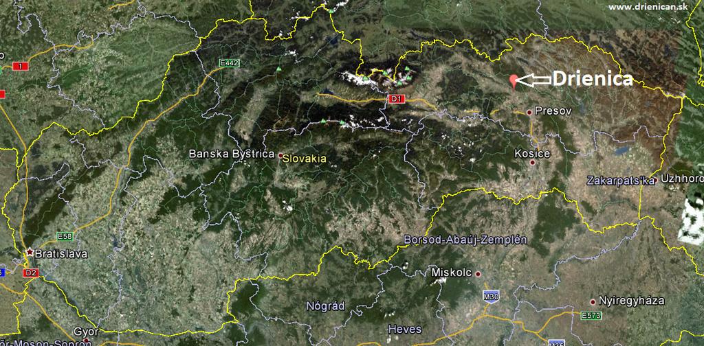 Drienica mapa