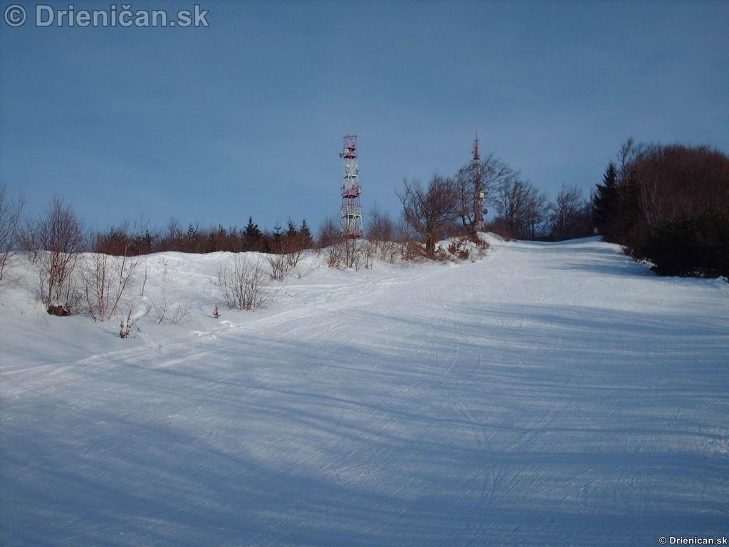 Drienica Lysá, v pozadí veža pre vysielače mobilných operátorov.