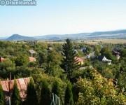 Drienica pohľad na dolnú časť obce, v pozadí Šarišský Hrad.