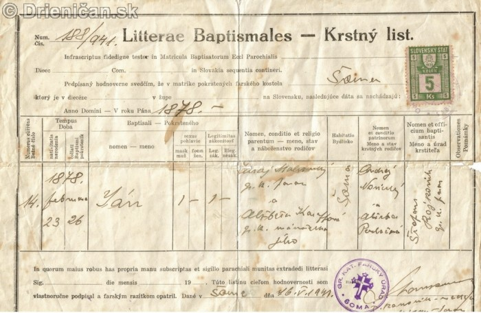 Ján Maľcovský, krstný list