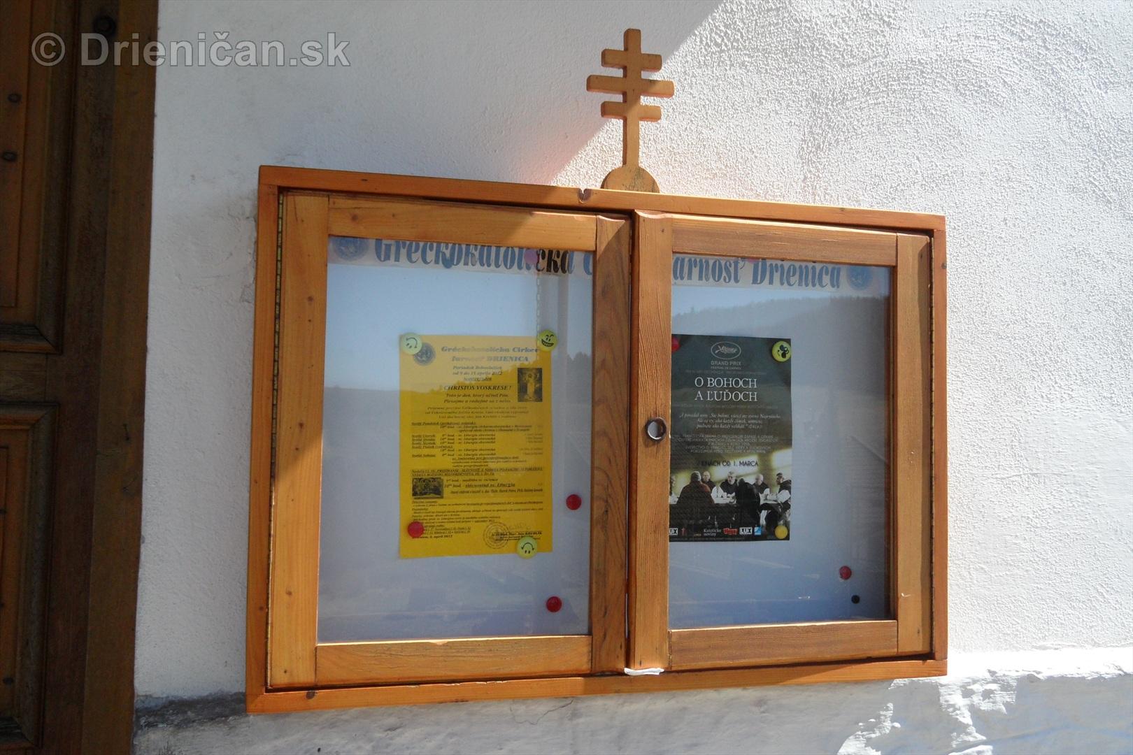 Informačná tabuľa, Gréckokatolíckej Farnosti v Drienici