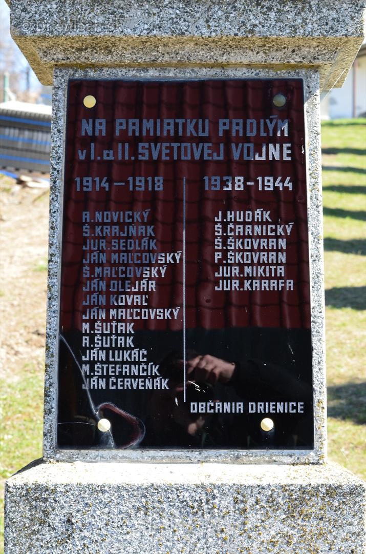 Detail-Na pamiatku padlým občanom v I. a II. svetovej vojne