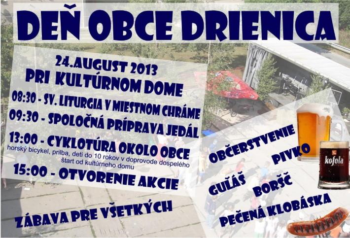 Deň obce Drienica 2013, plagát z www.drienica.sk