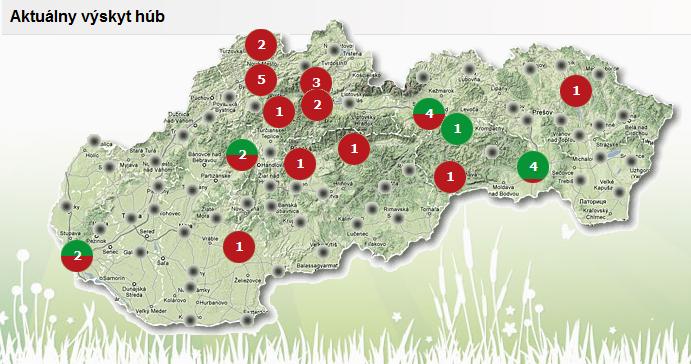 Ako vidieť na mape, výskyt húb je len veľmi ojedinelý. (zdroj: nahuby.sk)