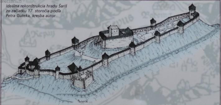 Ideálna rekonštrukcia hradu Šariš ZO začiatku 17. storočia podľa Petra Cuteka, kresba autor