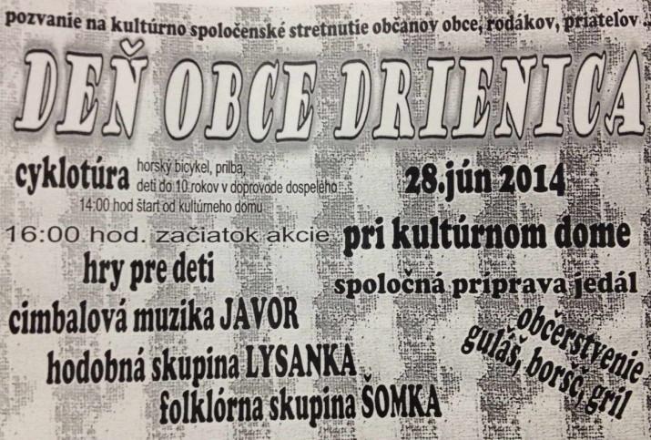 Pozvanie na kultúrno-spoločenské stretnutie občanov obce, rodákov, priateľov-Deň obce Drienica 28.jún 2014