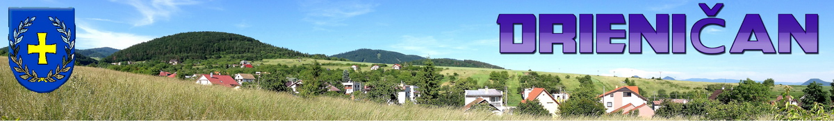 """Logo č.18 , Pohľad na dolnú časť obce Drienica zo """"Švatojánskeho poľa"""", oproti novostavby, naľavo Šarišský hrad."""