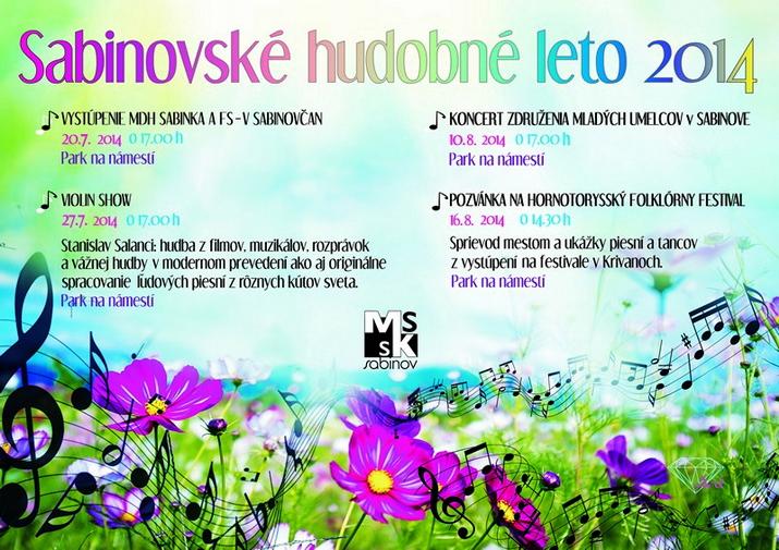 Sabinovské Hudobné Leto,plagát-zdroj: www.kulturnestredisko.sk