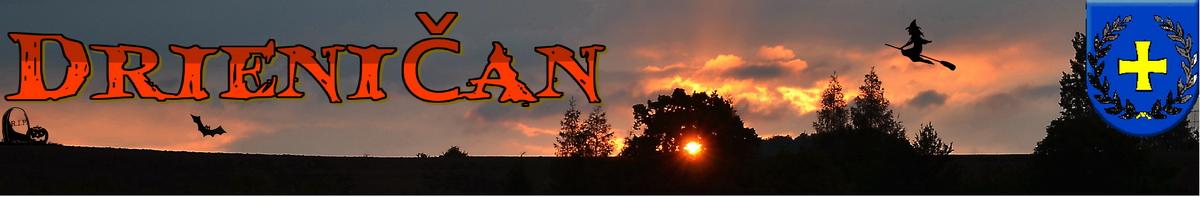 """Logo č.34 , Halloween a lietajúca bosorka. Pohľad na západ slnka cez korunu lipy, smerom na """"farské role""""."""
