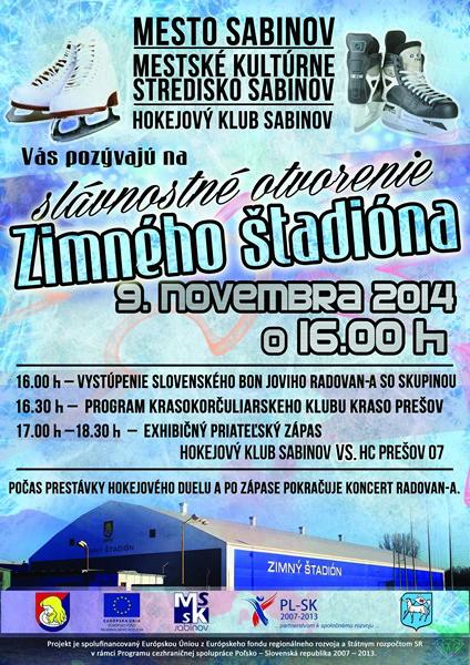 Zimný štadión v Sabinove-plagát