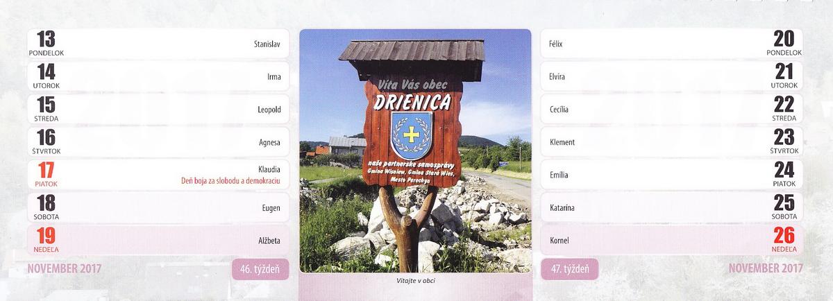 Kalendár Drienica 2017