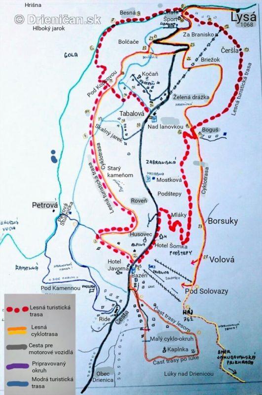 Cykloturistický chodník v rekreačnej oblasti Drienica-Lysá - mapa