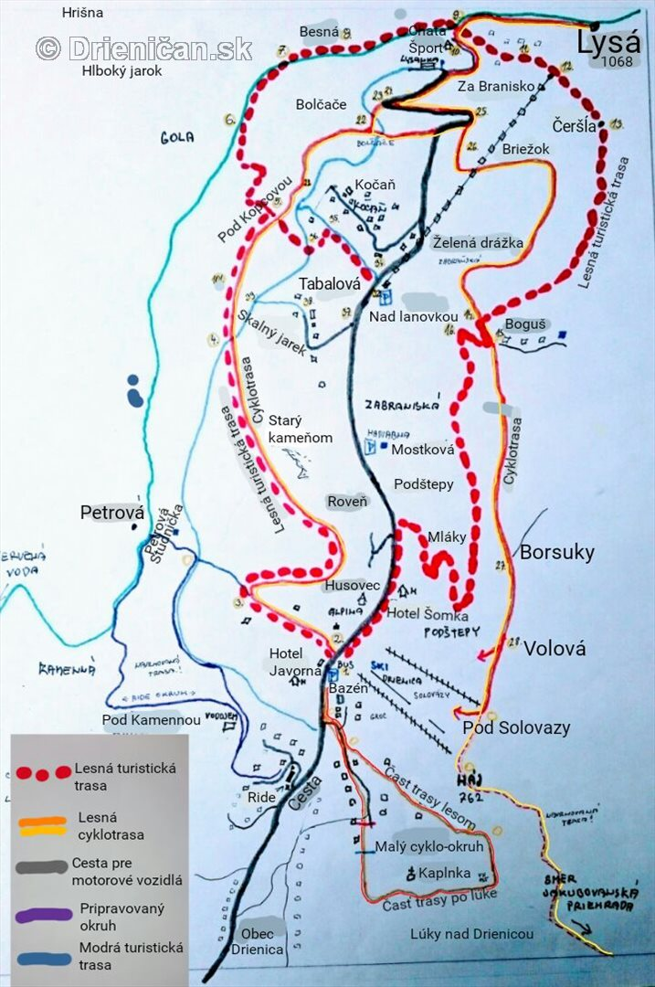 Čergovský pedál po Šomskej cyklodrážke-mapa