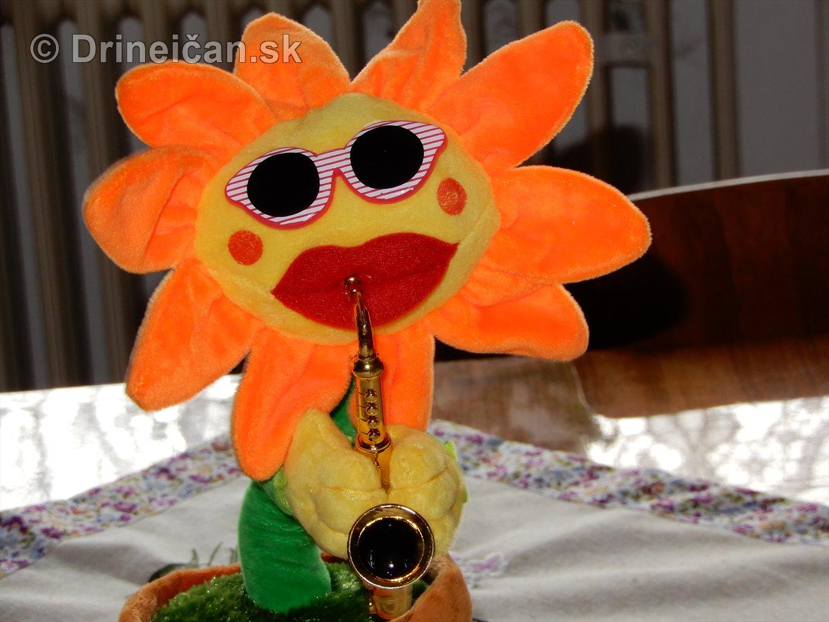 Slnečnica hrajúca na saxofón
